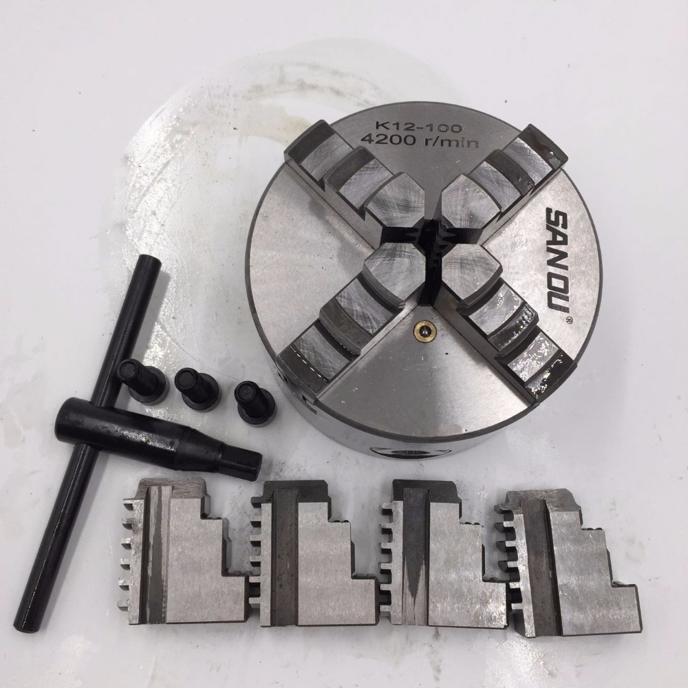 4Jaw 100mm Lathe Chuck 4 Jaw 4 Self centering Chuck Hardened Steel Plain Back CNC Metalworking