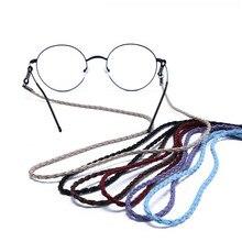 Горячая Распродажа унисекс красочные кожаные очки цепь Регулируемый шейный ремень струнные солнцезащитные очки шнур для шнурка шнур для чтения