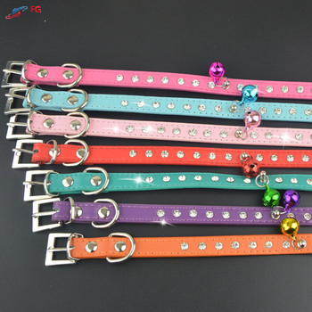 (50 Pieces/Lot)Wholesale Pet Product 2 Sizes Dog Collar PU Leather One Row Diamante Pet Cat Puppy Collar with Bell