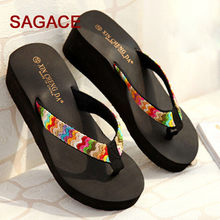 Zomer Platform Sandalen Strand Platte Wedge Patch Flip Flops Lady Slippers(China)