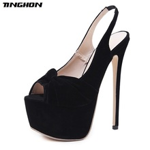 купить TINGHON Autumn Black Flock Peep Toe Pumps Party shoes Stiletto Heels Sexy Slip-On Women Platform Pumps Dress shoes 16CM по цене 1319.92 рублей