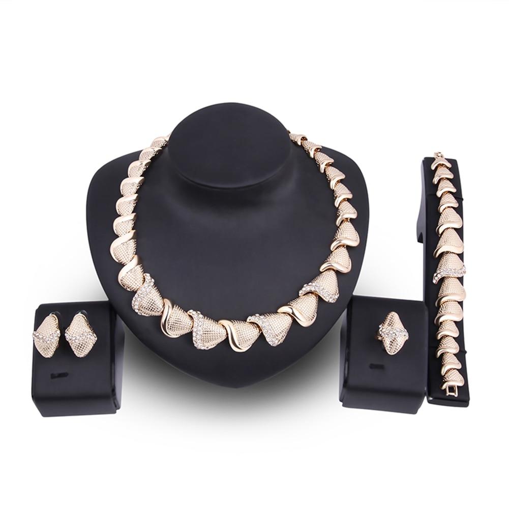 Women Retro Geometry Choker Necklace Bracelet Ear Studs Ring Wedding Jewelry Set
