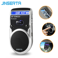JINSERTA LCD Bluetooth Car Kit Hands Free Adapter AUX Receiver Solar Power Handsfree Speakerphone For iPhone Andriod Loudspeaker