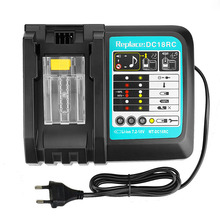 New replacement Makita DC18RCT fast charger 3A 14.4-18V for Makita 14.4V 18V BL1830 Bl1430 DC18RC DC18RA Power tool 2pcs new 6000mah spare rechargeable lithium ion 18v bl1860 with power tool battery charger replacement for makita dc18rc dc18ra