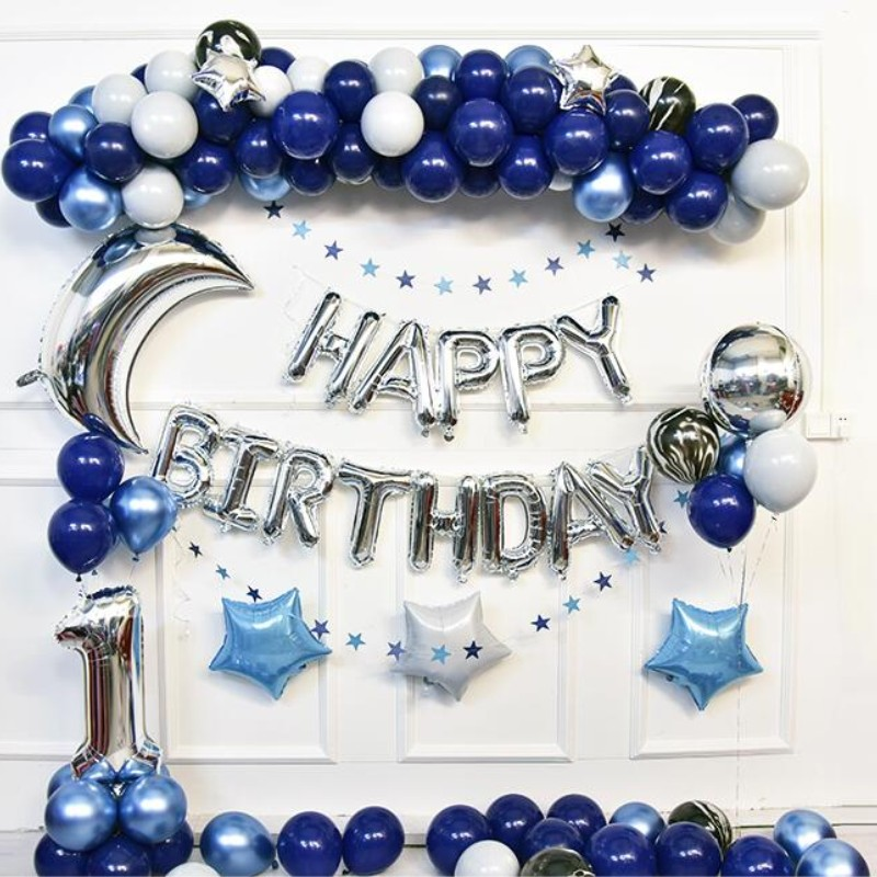 Ballons bleus 1 ensemble de décoration mâle bébé bébé douche hélium ballon fête d'anniversaire fournitures gonflable mariage air ballon