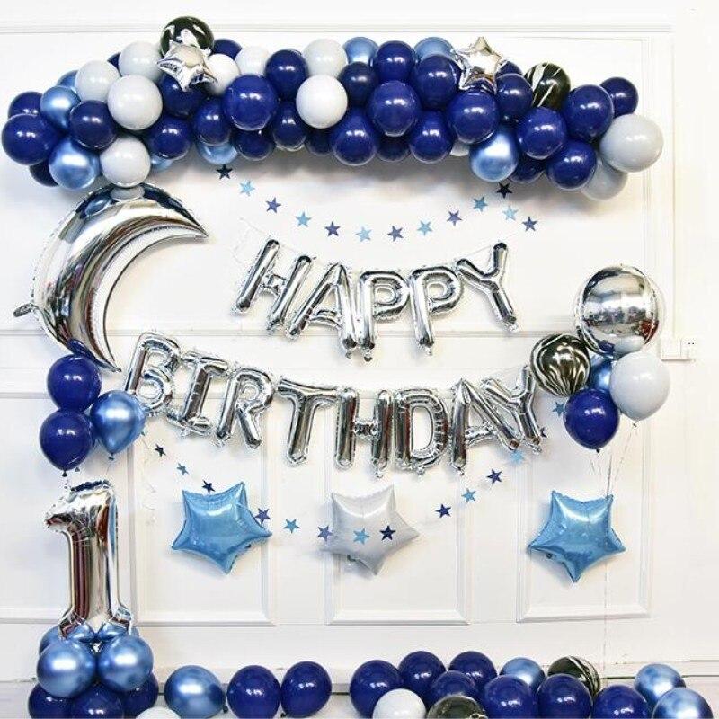 Bleu ballons 1 ensemble de décoration mâle bébé baby shower ballon d'hélium anniversaire articles de fête gonflable de mariage ballon d'air