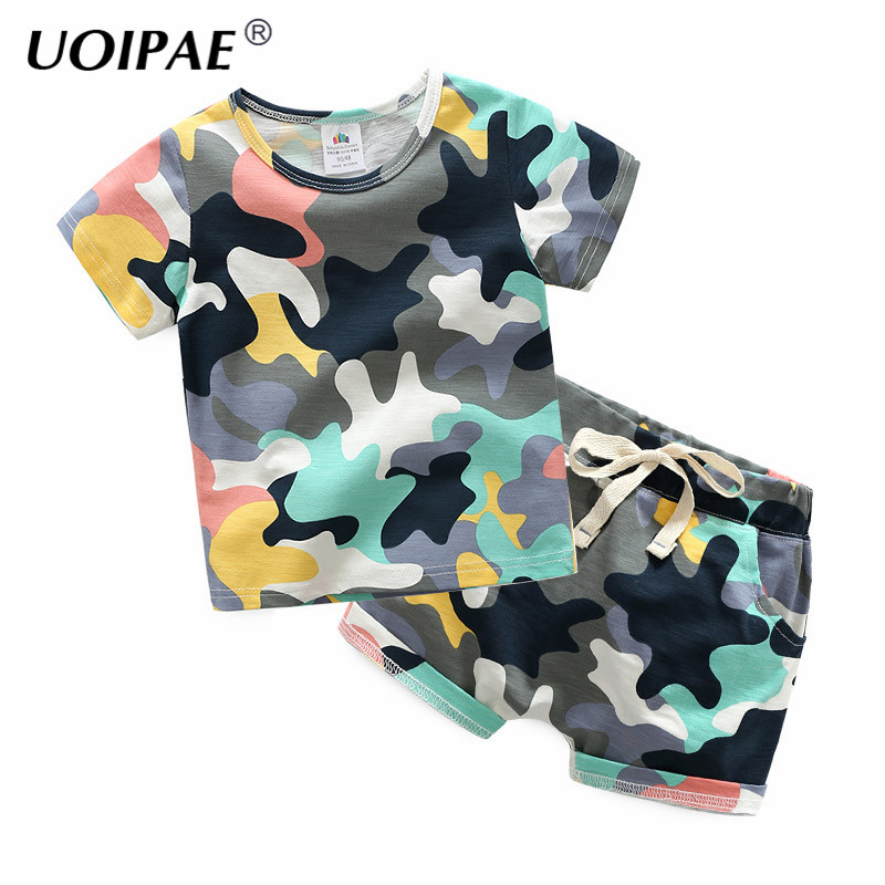 Boys Clothes Set 2018 Summer Fashion Camouflage Kids Sets Short Sleeve T Shirt+Shorts Simple 2 Pcs Children Clothing B0331