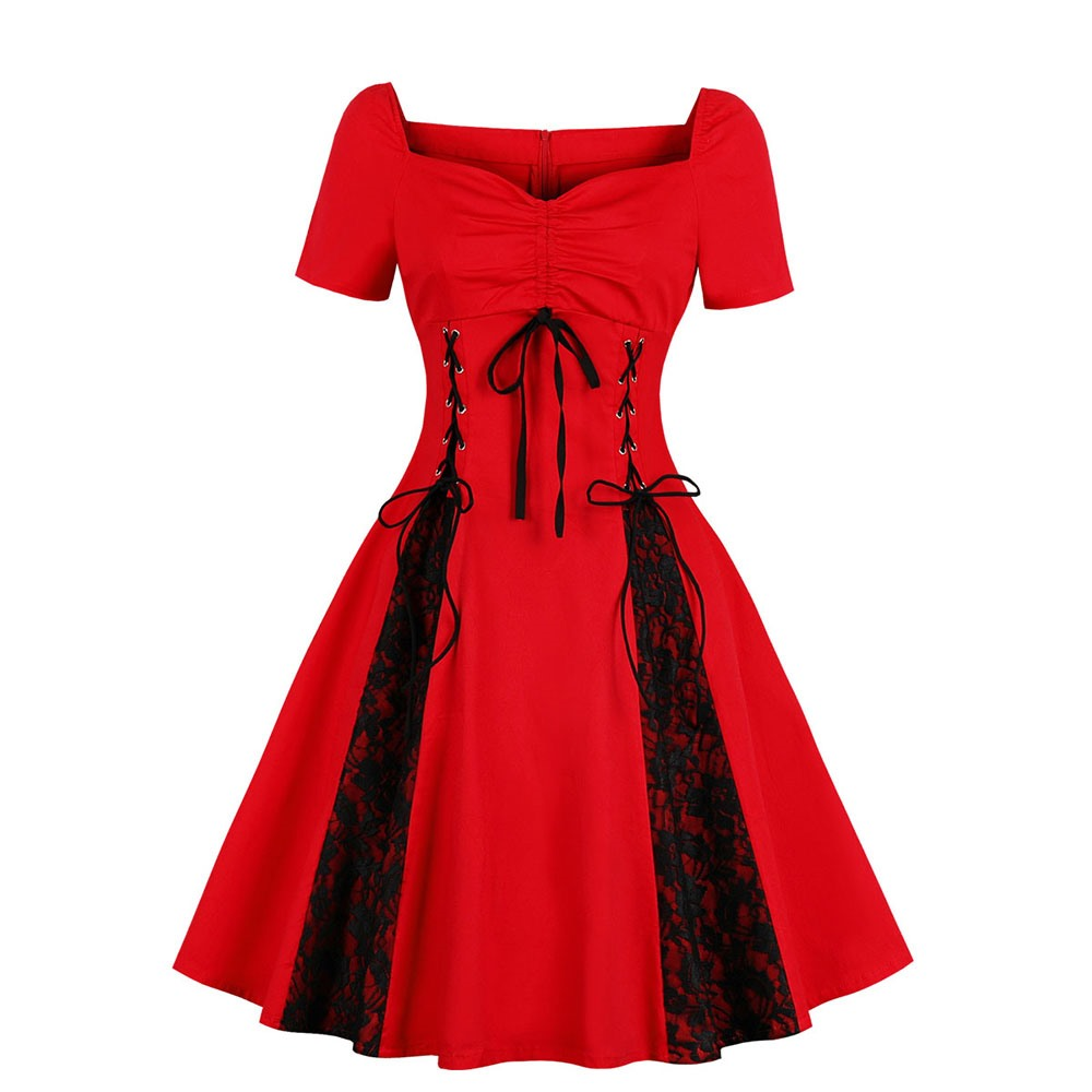 a03049882232a Sisjuly Plus Size Evening Party Bow Lace Up Black Floral Mesh Patchwork Red  Gothic Dress Women Ruffle Loose Sexy Work Dresses