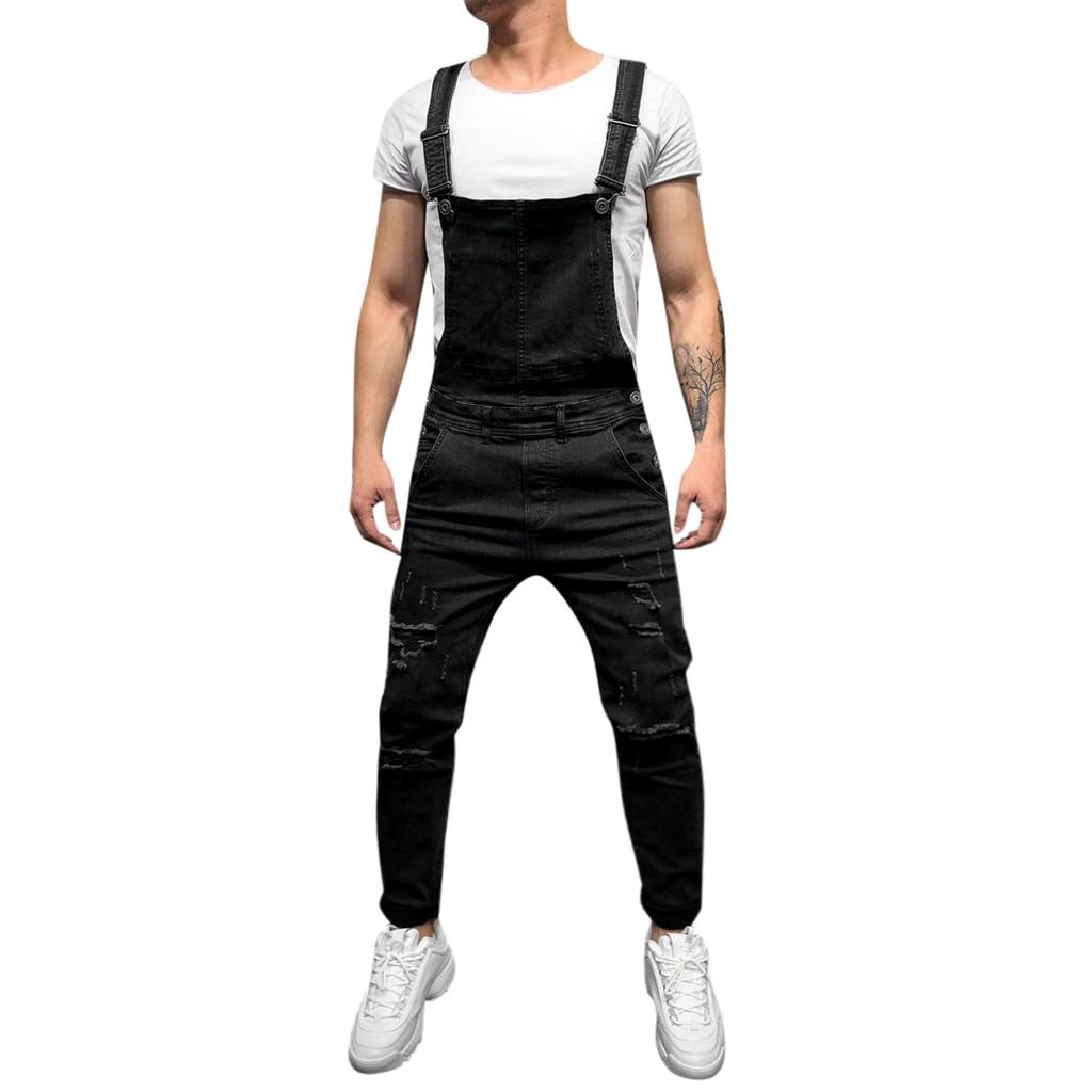 Pants Humorous 2019 New Fashion Mens Set Casual Jumpsuit Tooling Denim Pants Blue Jacket Jumpsuit Overalls Vintage Singer Costume M--xxl
