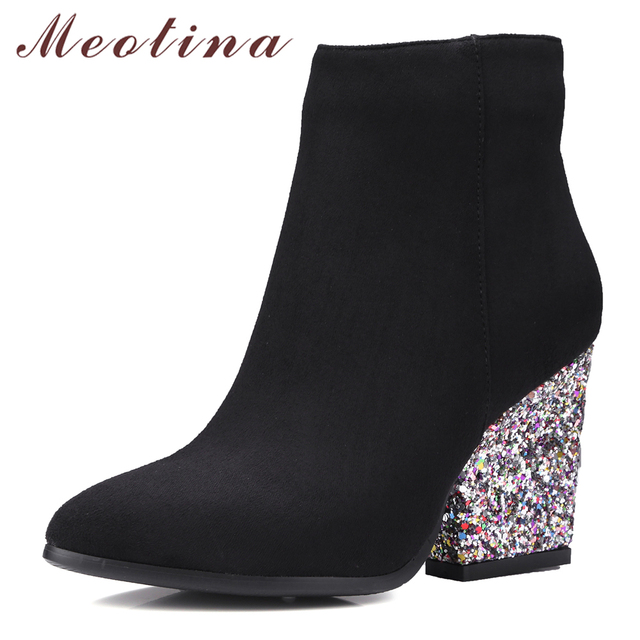 Women's Fashion Side Zipper Pointed Closed Toe Glitter Square Heel Velvet Ankle Boots
