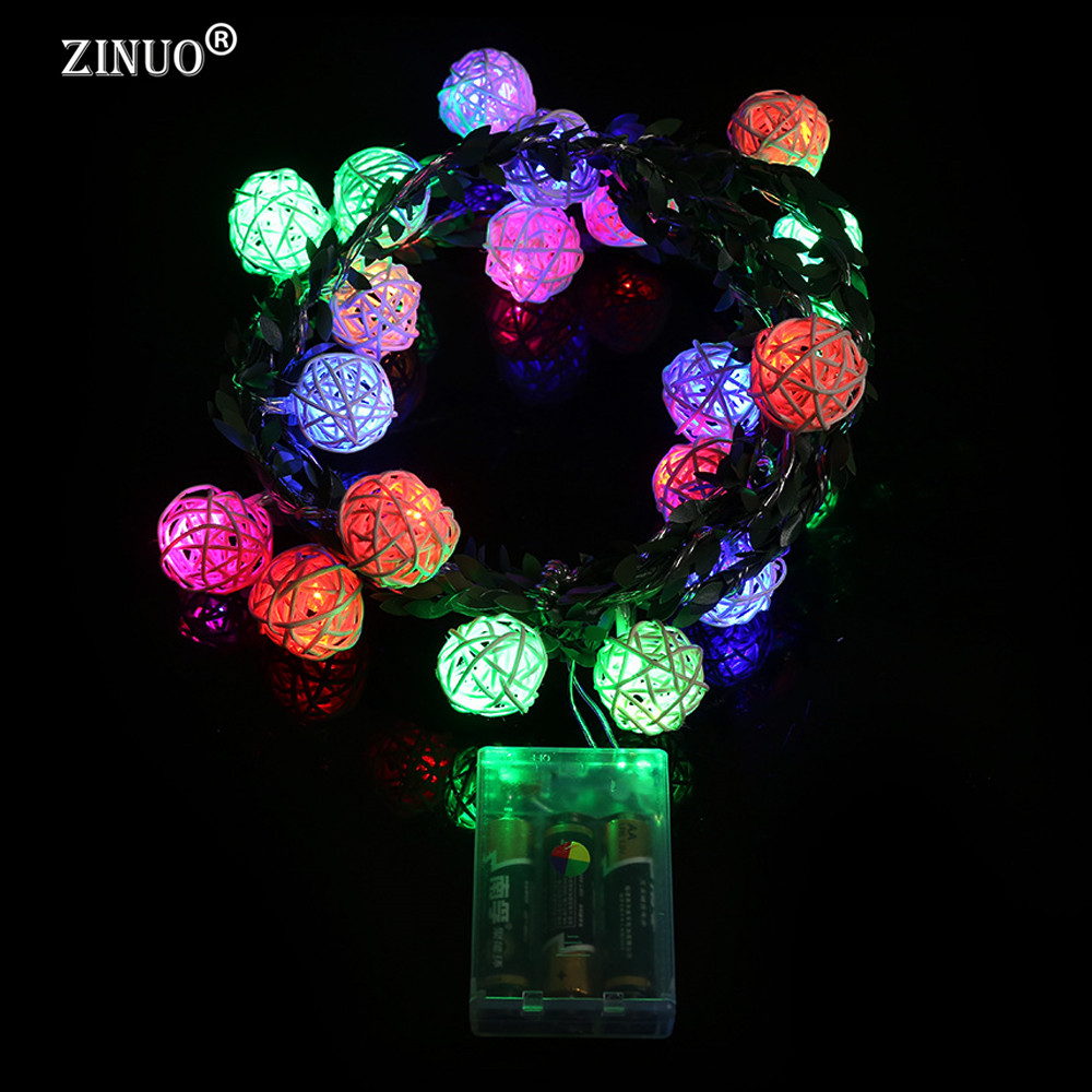ZINUO 2M 20LEDs Garland Rattan Ball Leaf LED String Holiday Lights - Мерекелік жарықтандыру - фото 3