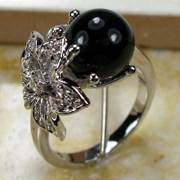 BLACK PEARL 925 STERLING SILVER RING SIZE 5 6 7 8 9 10 11 12 TR131 gj303 rhinestones 316l stainless steel couple s ring black silver size 9 7 2 pcs
