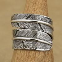 925 Sterling Silver Feather Mens Biker Punk Ring 9W014 Free Size Adjustable 7 To 11