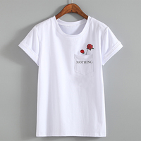 2017 Summer Letter Print T Shirt Rose Harajuku T Shirt Women Summer Casual Short Sleeve TShirt