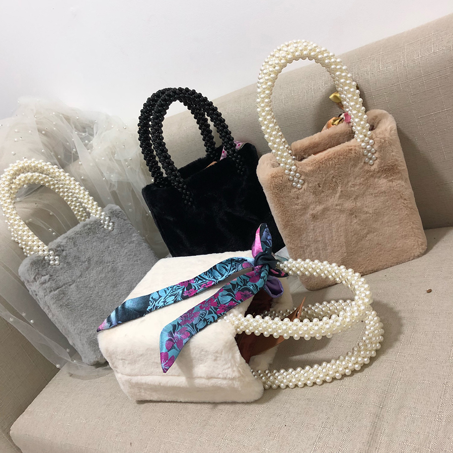 Beading Box Pearls Bags for Women Handbags Winter Faux Fur Totes Bags Top-handle Bag Girls Design Chic Purse Bolsa Feminina 2018 faux fur cuff pearl beading scallop dress page 7