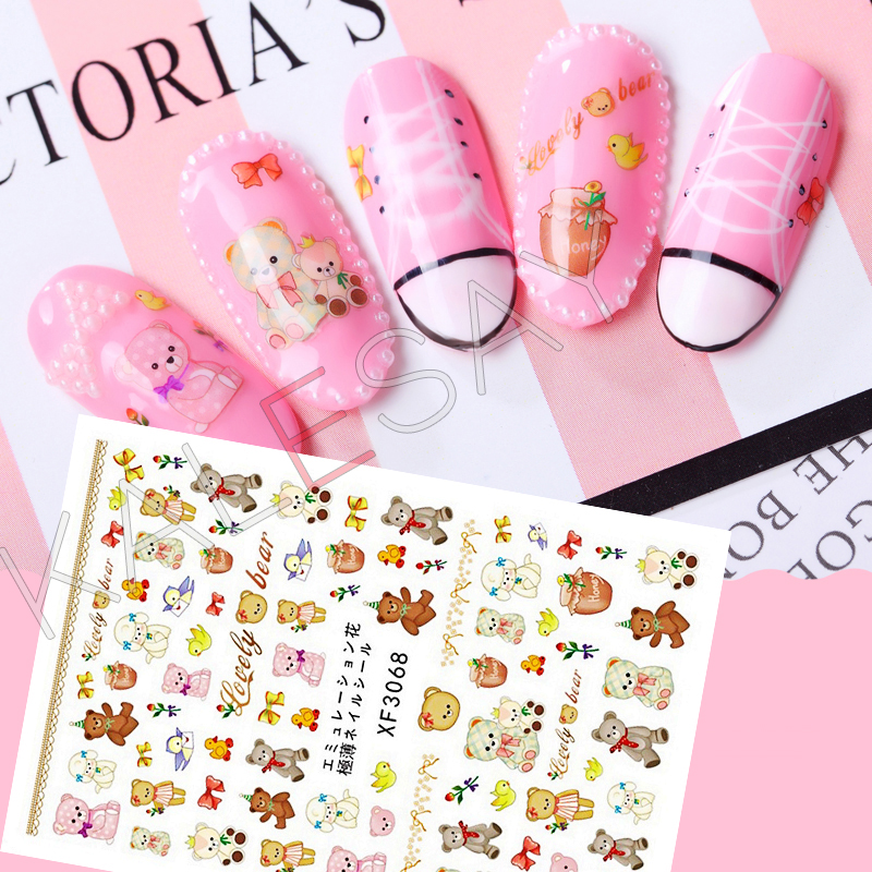 Bear Design Nail Stickers for Nails Art Decoration Manicure 3D Nail Back Glue Decals Nail Wraps Transfer Foil Stickers No Water