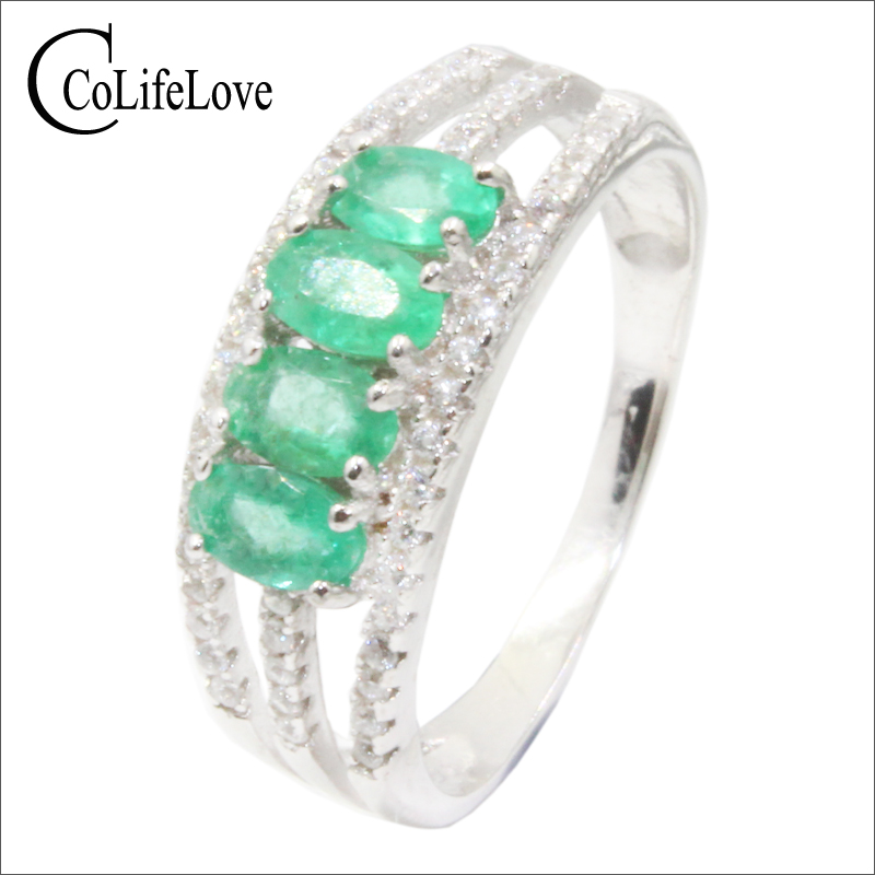 100% real emerald ring 3 mm * 5 mm oval cut SI grade emerald silver ring 925 sterling silver emerald jewelry for birthday gift fashion silver emerald ring for party 2 pieces 4 mm 5 mm natural emerald silver ring 925 sterling silver emerald jewelry