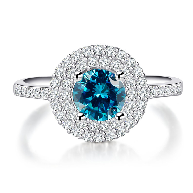 H:HYDE Nice Shipping Size 7-8 Silver color Blue Ring for women CZ Fine jewelry Engagement Wedding Finger Jewelry