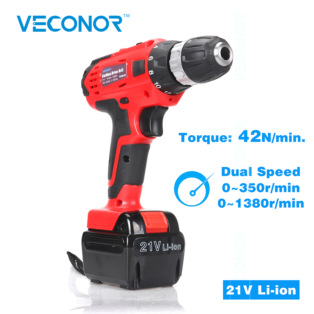 21V Li-ion Battery Cordless Driver Drill Electric Screwdriver Rechargeable Battery Power Tools цена