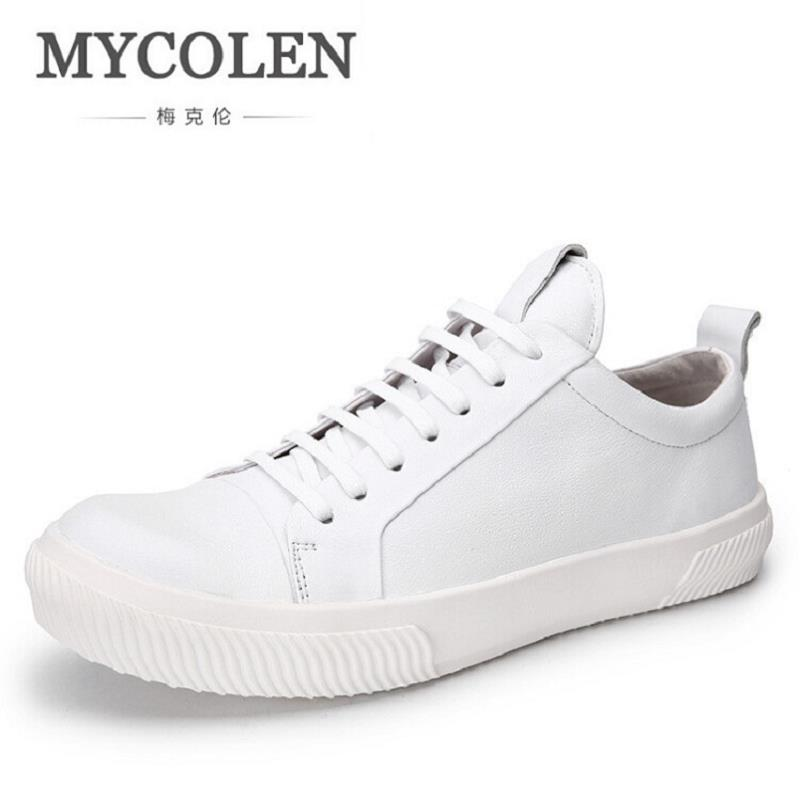 MYCOLEN Brand Mens Autumn Shoe Fashion Leisure Cow Leather White Shoes Footwear Male Casual Designer Walking Shoe Chaussure 2016 new autumn winter man casual shoes sport male leisure chaussure laced up basket shoes for adults black