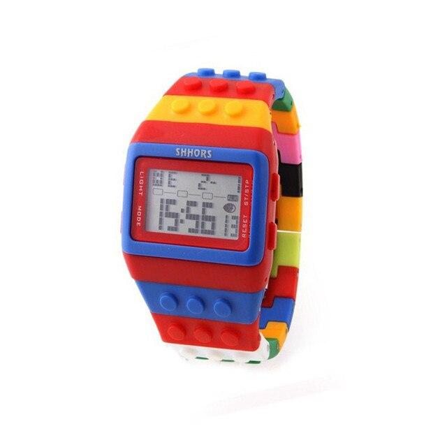 Reloj clásico Unisex de arcoíris, raya colorida, luz LED Digital barata, envío rápido, 2018 Shhors