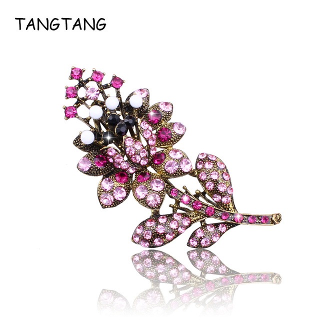 Women Wedding Jewelry Engagement Brooches Ladies High Quality Silver Plated with Rhinestone Crystal Leaf Style Brooch Jewellery