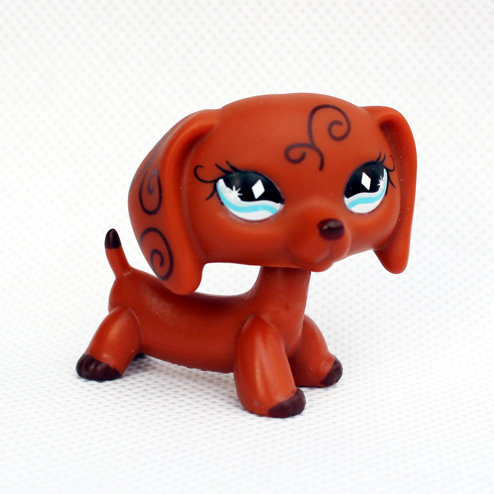 Rare Animal pet shop lps toys DACHSHUND #640 cute little brown sausage dog toy for kids Christmas present pet shop lps toys dachshund 556 light brown sausage dog pink heart green eyes