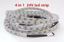 4 in 1 RGBW LED Strip 5050 DC24V Flexible LED Light RGB+White / RGB+Warm White 4 color in 1 LED Chip 60 LED/m 5m/lot.