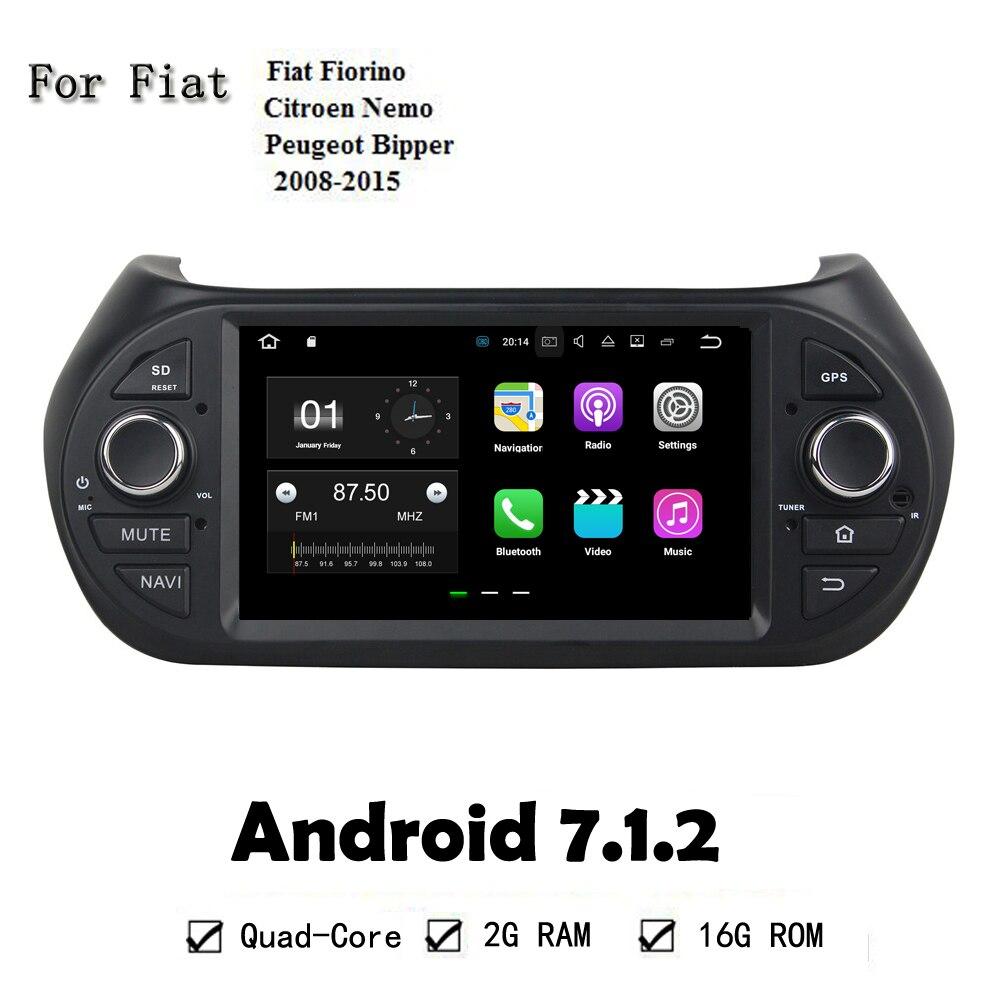 7 Inch Android 7.1.2 RAM 2G Quad Core CPU 1.6G Car DVD Player For Fiat Fiat Fiorino Citroen Nemo Peugeot Bipper 2008-2015 GPS