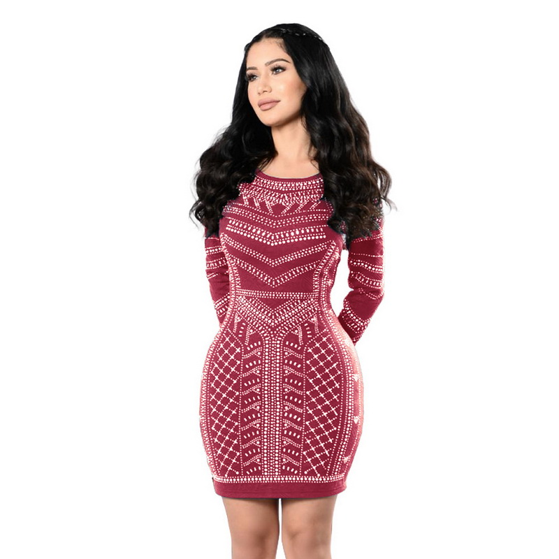 JTCWEAR Deep U Back Long Sleeve Dress Digital Print Lady O Neck Bodycon Dress Night Club Party Casual Fashion Mini Dress 608