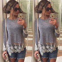 Autumn Women Embroidery Knitted Slim T Shirts Loose Long Sleeve Sexy Lace Crochet T -Shirt Patchwork T Shirts Plus Size S -Xxxl цена 2017