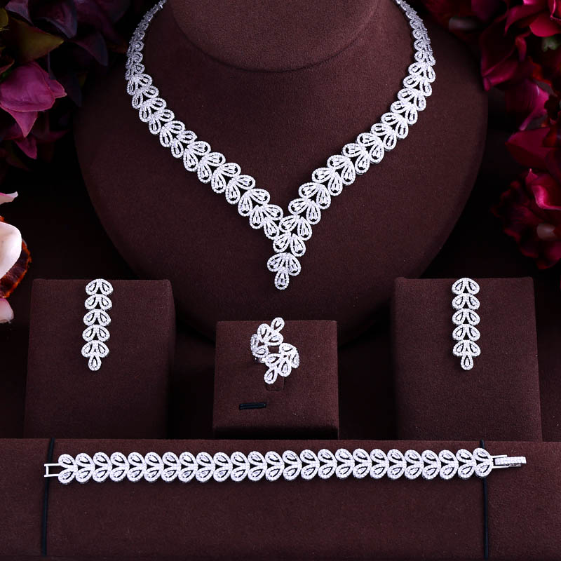 jankelly Luxury cubic zirconia necklace bracelet earrings and ring 4pcs dubai full jewelry set for women,bridal dress dinner a suit of charming hollow out necklace bracelet ring and earrings for women