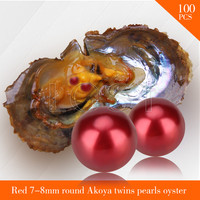 Popular Pearls Bead Red 7 8mm Round Akoya Twin Pearls In Oysters With Vacuum Package Women