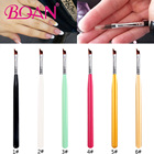 BQAN 1PCS #6 Nail French Brush UV Gel Nail Painting Drawing Polishing French Tips Manicure Pen Brush Half Moon Brushes Design