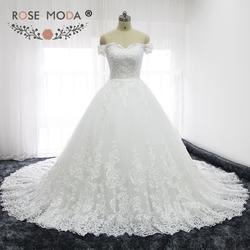 Роза Moda Роскошные с открытыми плечами французского кружева свадебные платья полу собор Поезд принцессы Свадебное бальное платье реальные