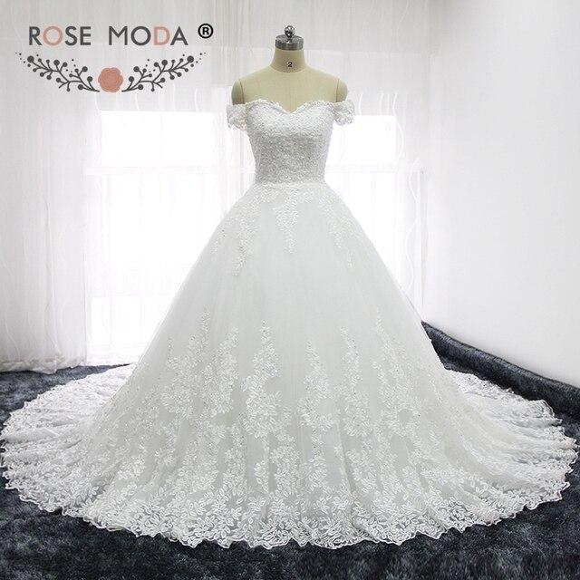 Rose Moda Luxe Hors Epaule Dentelle Francaise Mariage Robes Semi