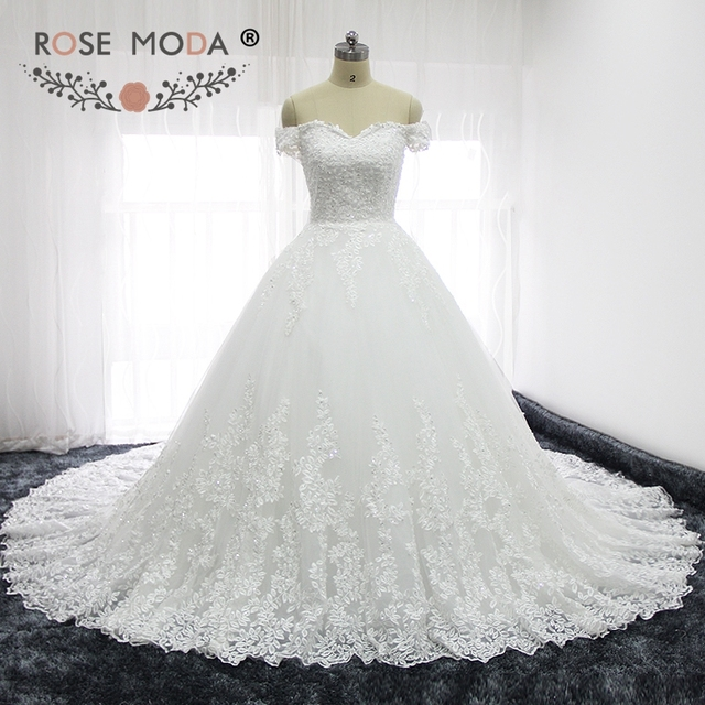 Rose Moda Luxury Off Shoulder French Lace Wedding Dresses