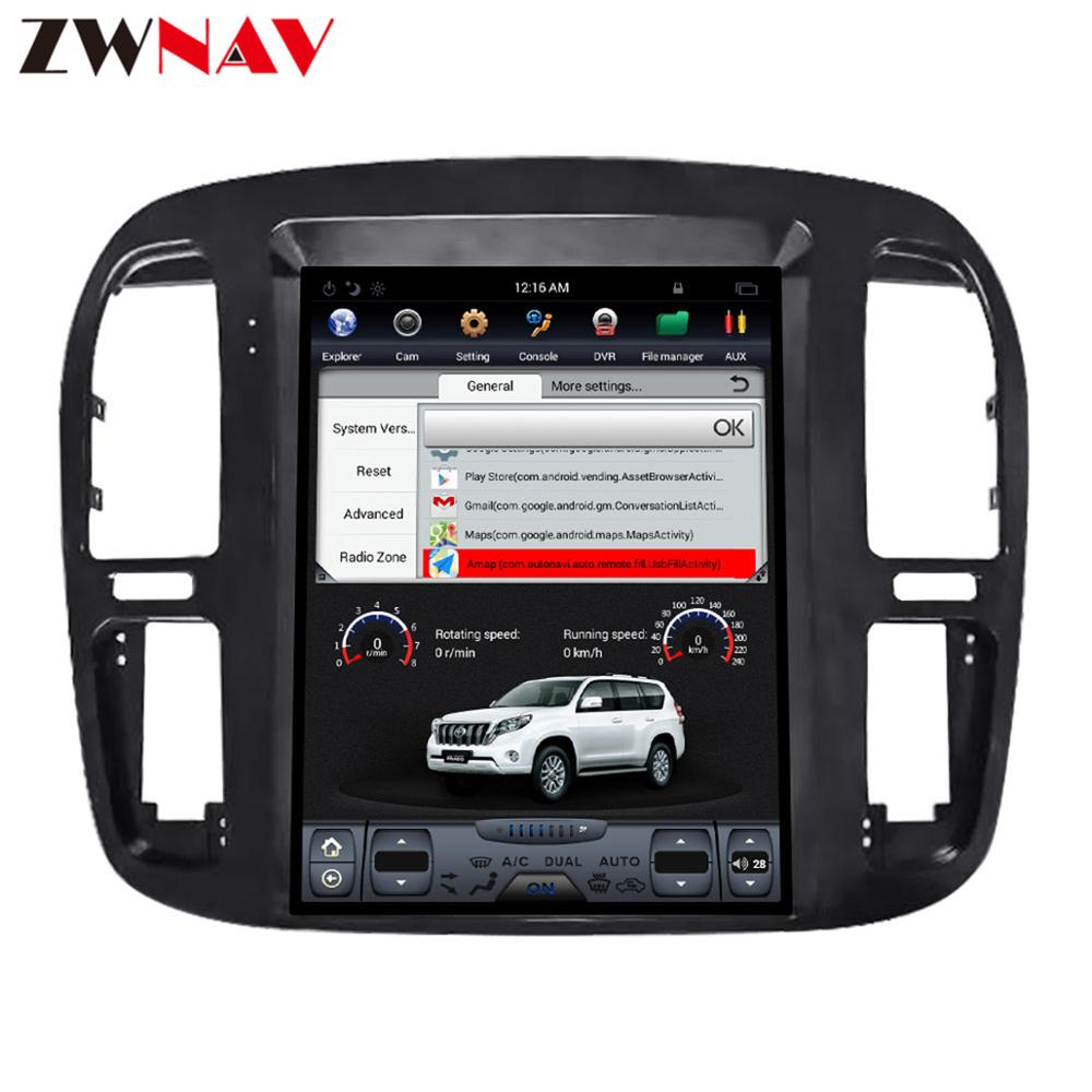 tesla style Android 7.1 big screen Car DVD For Toyota Land Cruiser lc100 1998-2002 Audio Video Radio Stereo GPS Navigation 1 din image