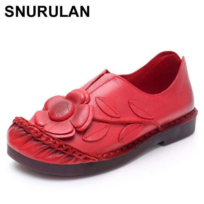 Moda Genuino Mujer E102 Pisos rojo Flor Cuero Hecha De Zapatos amarillo  Nuevos Mano Snurulanwomen Mujeres ... c6d1cfae2972