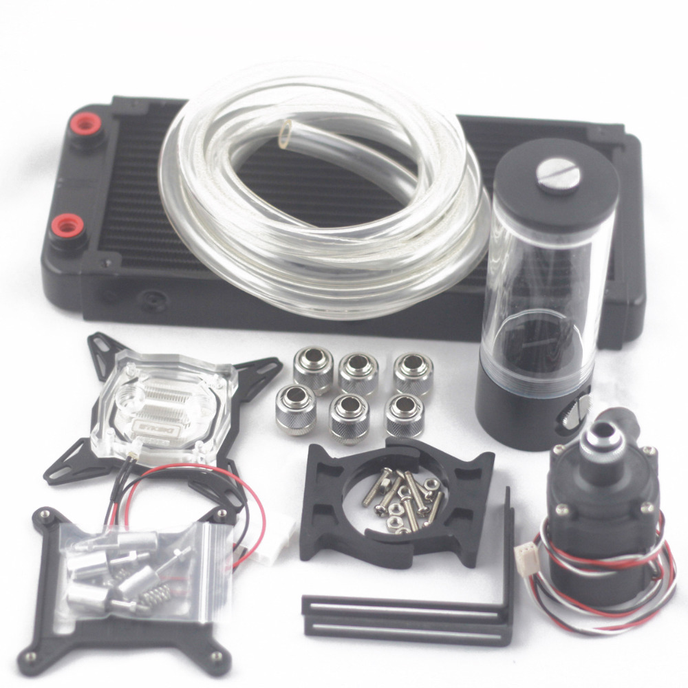 Computer water cooling radiator OD10mm 240p Auminum with 110 140 190 240mm water tank sc600B pump water cooling kits set 240mm cylinder water tank sc600b pump all in one set maximum flow 500l h computer water cooling radiator