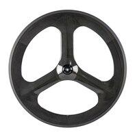 Groothandel carbon tri sprak clincher front 3spoke wheel 700c achter tri spoke wheel met gratis verzending