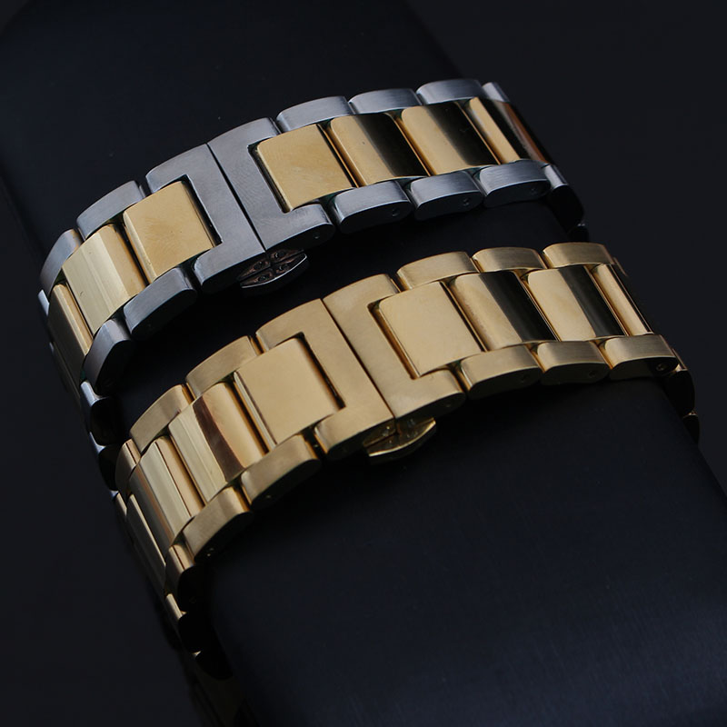Replacement Fashion Watchbands strap Polished Solid links Stainless Steel Bracelet for brand watches mens hours 18 20 21 22 23mm dull polished mixed beaded bracelet