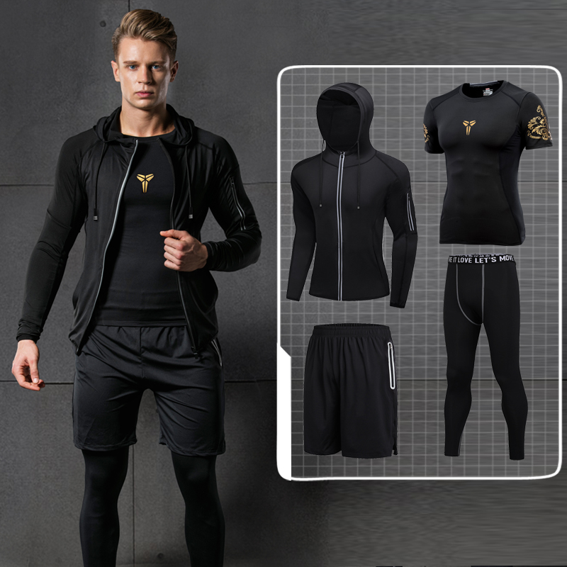 Men T Shirts Print Compression Sets Fashion Brand Clothing for Men O-neck Fitness Breathable M-2XL Casual Black Gray Men Suits fashion long sleeve o neck t shirt 2017 new arrival men t shirts tops tees men s cotton t shirts 3colors men t shirts m xxl