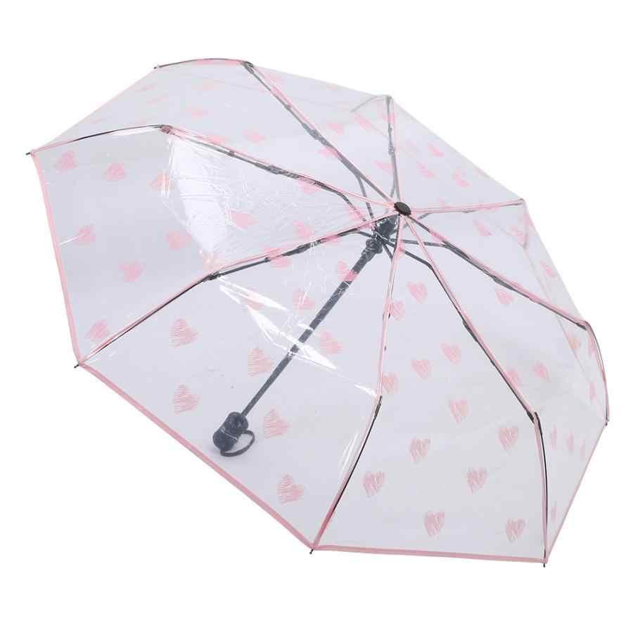 Payung Tahan Angin Hujan Tools Modis Pola Hati Portabel Transparan Otomatis Tiga Lipatan Hujan Payung Lipat