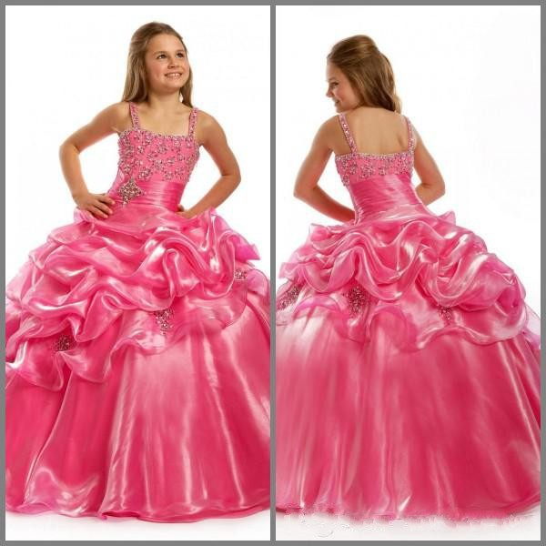 vintage flower girls dresses for weddings pageant dresses for girls beauty organza fuchsia gowns toddler floor