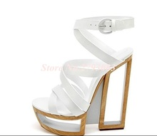 Hot Selling Black White Strange Heel Women Sandals 2019 Cut-out Hollow Platform Gladiator Sandals Women Banquet Dress Shoes colorful crystal party weeding women shoes gladiator new fashion cheap price hot selling black strange style bird cage heel