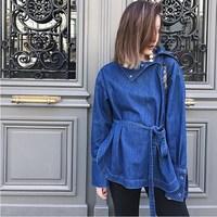 Fashion Women Turtleneck Flare Sleeve Loose Casual Denim Jacket Female Lace Up Big Size Tunic Basic