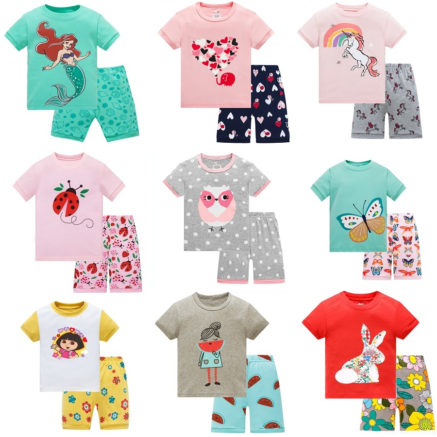 Baby Kids Pajamas Set Summer Children Short Sleeve Cotton Sleepwear Girl Cartoon Pyjamas Girls Cute Home Clothing Girl Nightwear