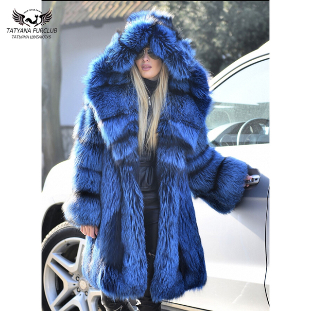 98151531ac6c Tatyana Furclub Natural Female Real Fox Fur Coat 100cm Winter Silver Fur  Jacket Big Fur Collar Hood Luxury Coats Gift Cloth