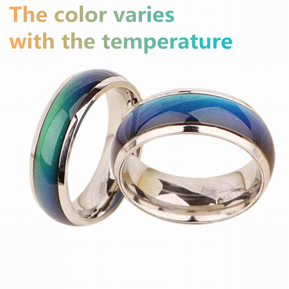 SOBUY Stainless Ring Changing Color Mood Rings Feeling / Emotion Temperature Ring Wide 6mm Smart Jewelry Factory Direct Sale